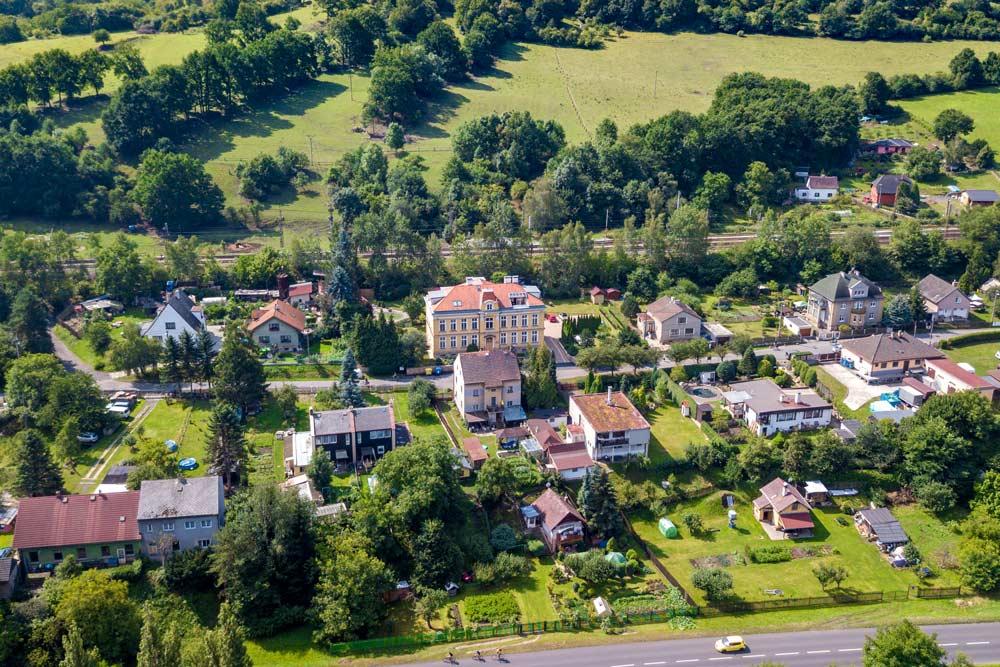 Letecký pohled Sebuzín Vila